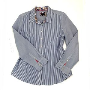 Talbots Blue White Pinstripe Button Down Shirt